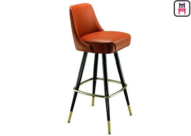 Luxury Leather Button Deco High Bar Stools , Solid Wood Restaurant Supply Counter Stools