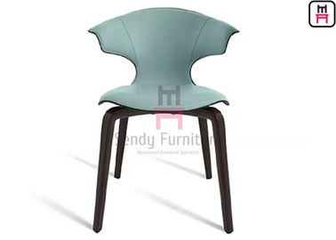 Upholstered Fiberglass Dining Chair Leather Ash Wood Modern Creative Design